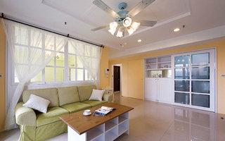 92平米美式乡村客厅布艺沙发图片