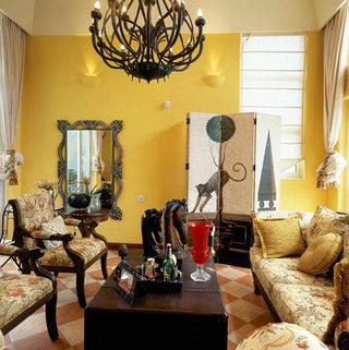 复古地中海风情 暖黄色客厅效果图