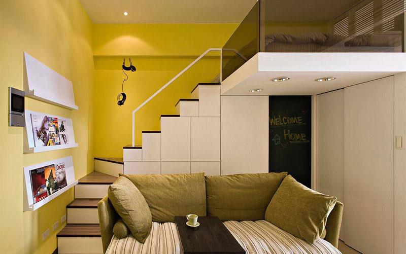 30平小复式房客厅楼梯设计