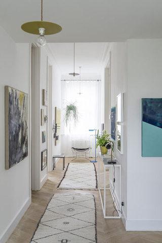 450平别墅白色绿色走廊设计效果图