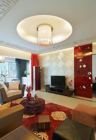 浪漫中式客厅圆形吊顶设计