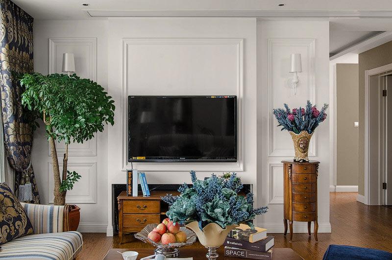 158平欧式古典风格客厅电视背景墙装修