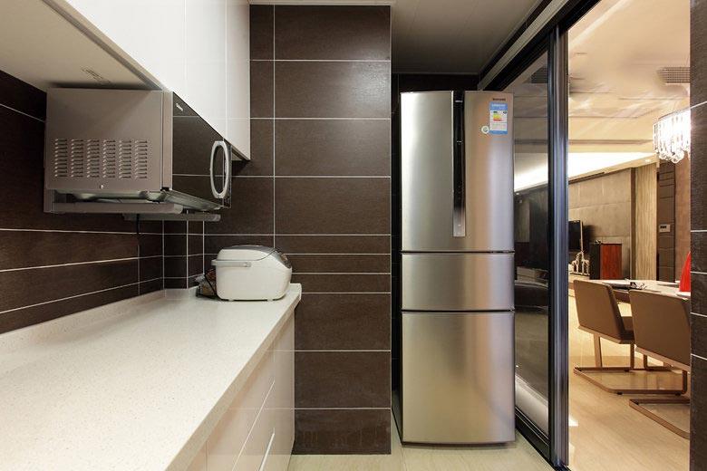 129㎡咖色简约风厨房装修设计图