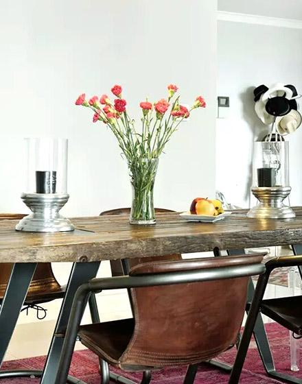 90平混搭风格木质餐桌图片