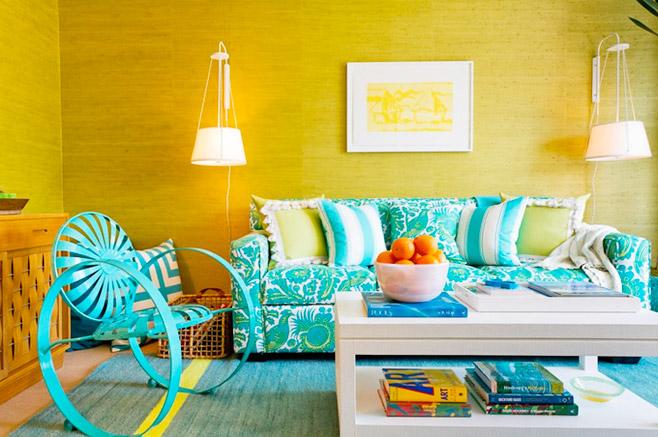 清新蓝色客厅沙发摆放图片