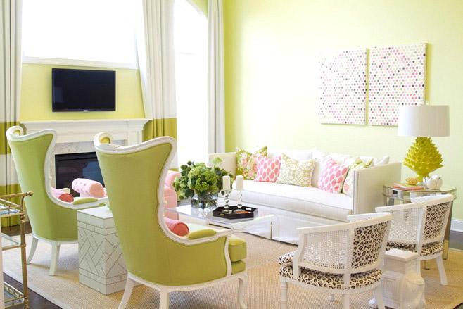 清新绿色客厅沙发图片大全