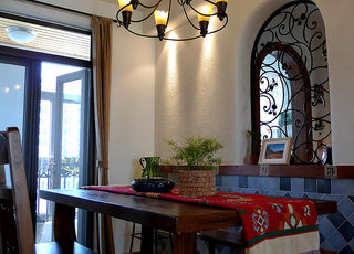 114平地中海实木餐桌设计图片