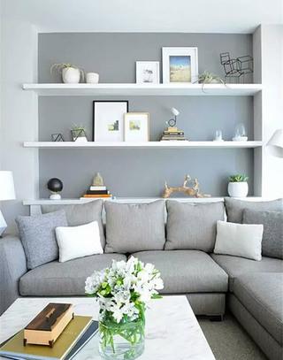 沙发背景墙收纳设计效果图