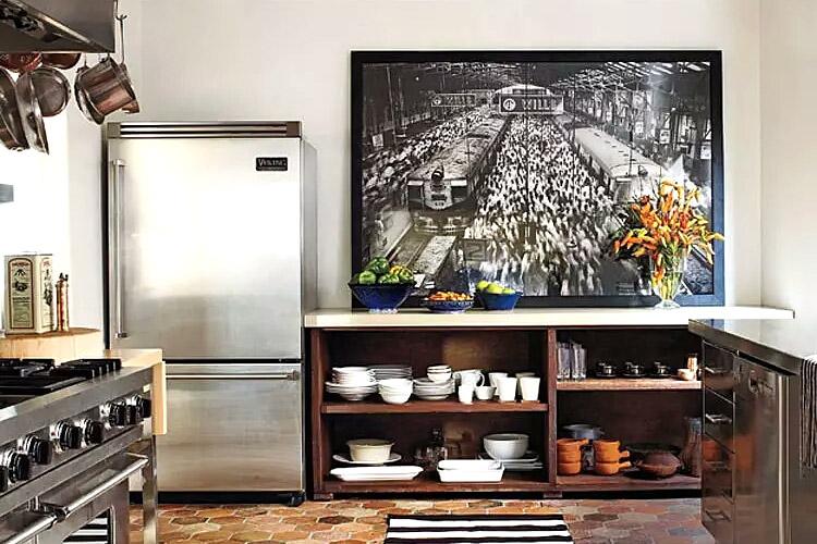 复古风格开放式厨房橱柜图片
