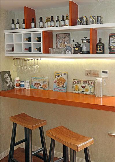 乡村美式靠墙酒柜吧台效果图