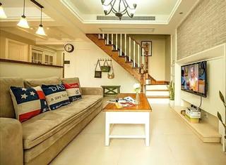 乡村美式复式客厅沙发效果图