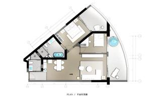 109平简约两居室平面户型图