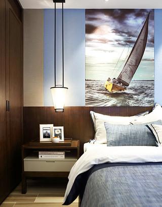 109平简约两居室卧室背景墙装饰画