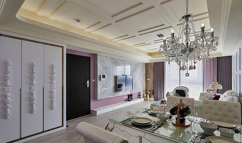 112平欧式风格优雅华丽客厅吊顶图片