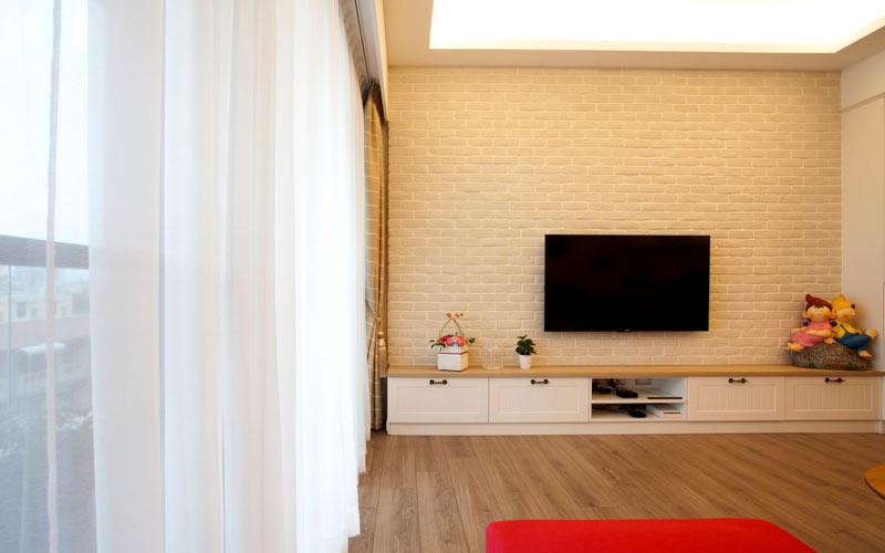 120平美式乡村风格文化砖客厅电视背景墙图片