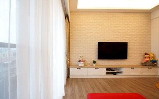 120平美式乡村风格文化砖客厅电视背景墙