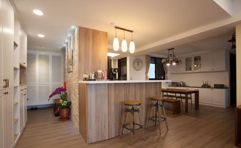 乡村美式开放式家居实木吧台设计