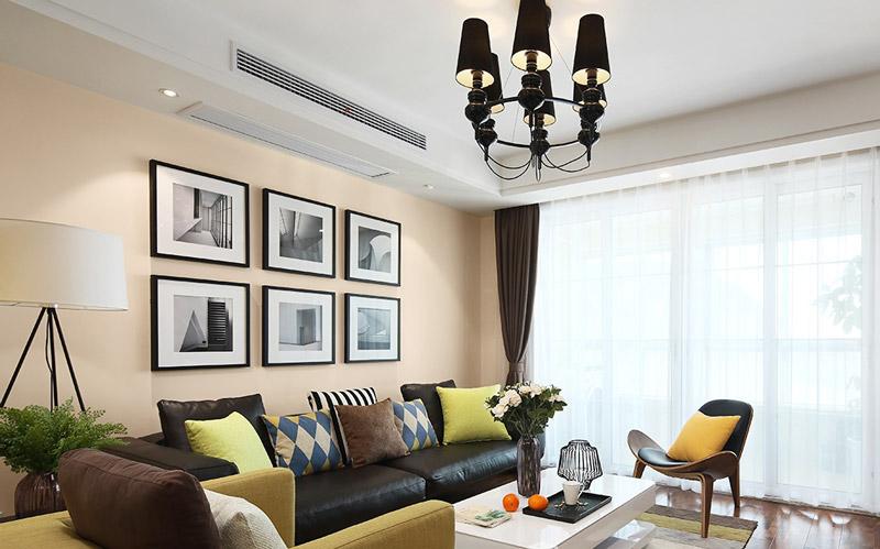 休闲美式客厅 沙发背景照片墙设计