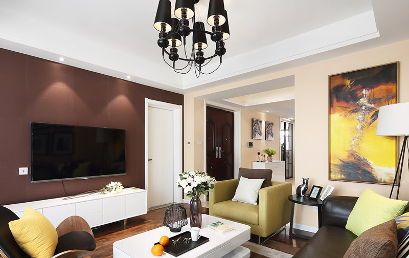 简约美式客厅 咖色系电视背景墙设计