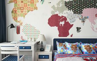简约风格四房两厅儿童房手绘背景墙