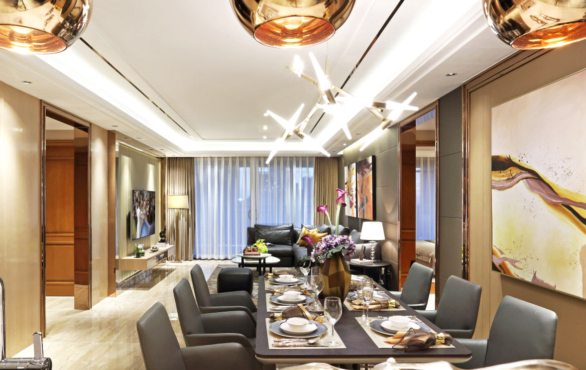 160平米三居室餐厅装修效果图