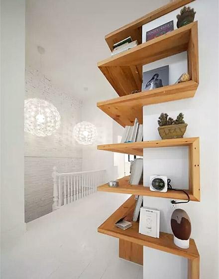 木质转角收纳置物架图片