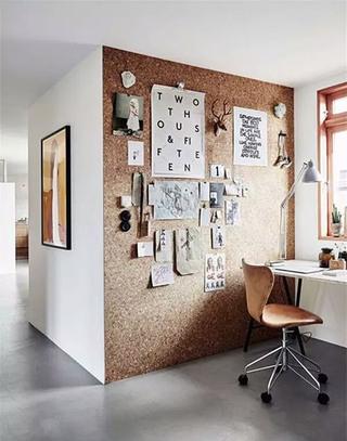 简约书房软木背景墙设计