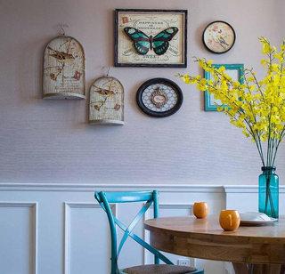 88平美式复古餐厅背景墙装饰画效果图