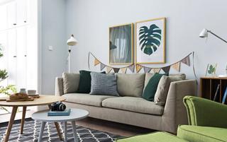 北欧风格三室两厅客厅布艺沙发图片