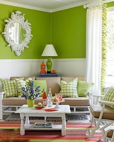 绿色客厅设计实景图