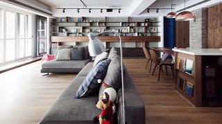 116平现代简约风格客厅餐厅过道效果图