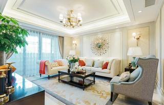优雅美式客厅背景墙效果图