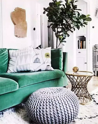 客厅绿色布艺沙发图片