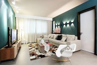 绿色客厅背景墙装修图