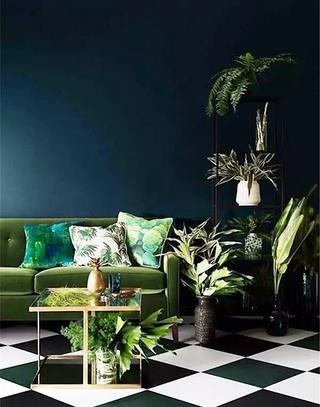 绿色客厅装潢图片