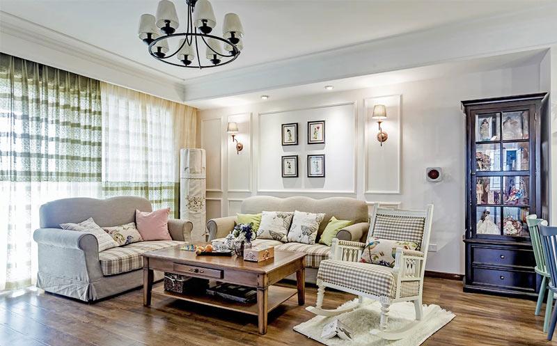 清新美式田园风格客厅背景墙设计