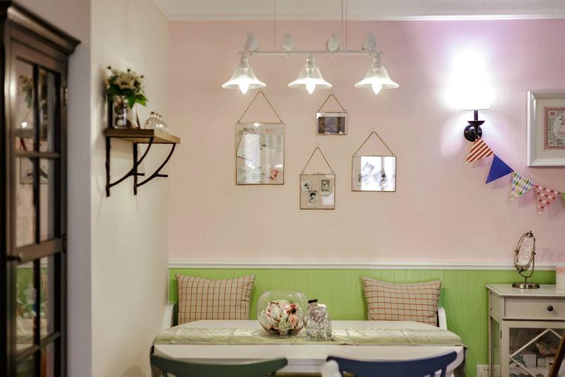 甜美粉嫩系田园风 卡座餐厅背景墙设计