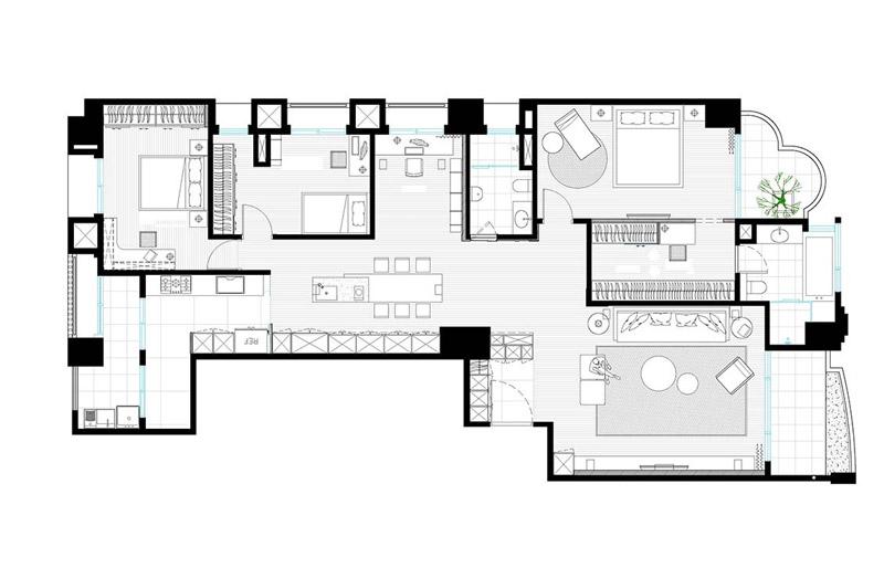 现代简约三居室平面户型图