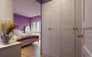 130平米田园紫色主卧室效果图