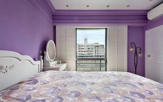 130平米田园紫色带阳台卧室装修设计