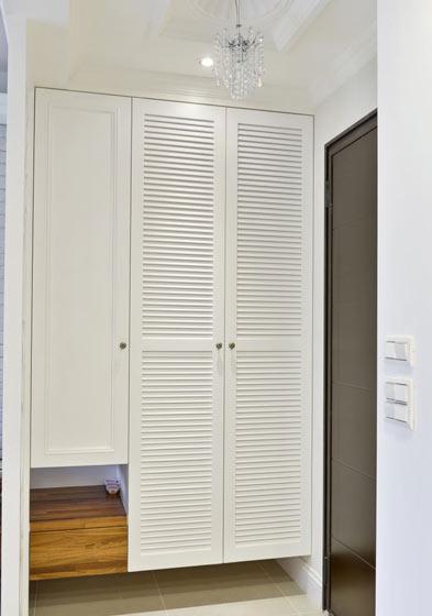 乡村美式 白色玄关鞋柜设计