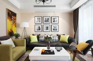 现代风客厅沙发照片墙效果图