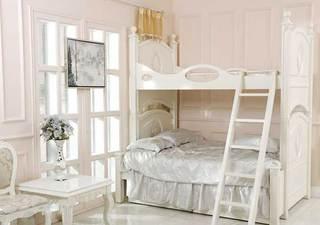 白色系儿童房高低床图片