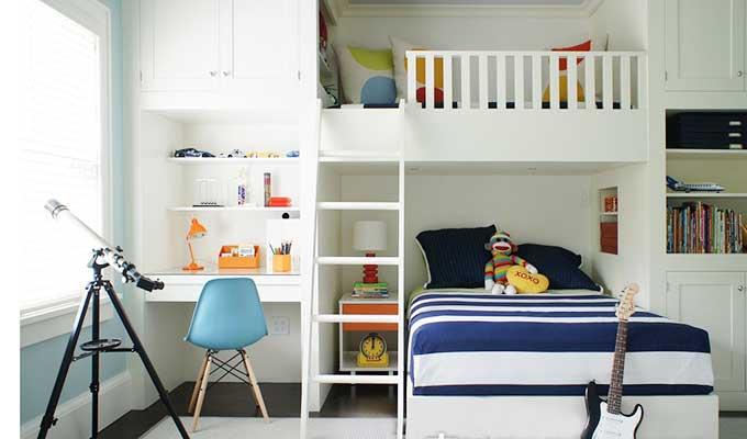 地中海风儿童房高低床图片