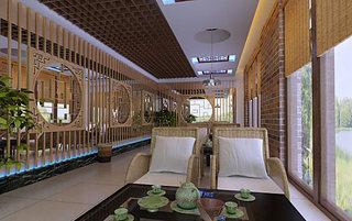 原木色中式茶楼装修设计效果图