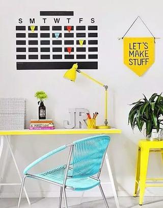 黄色书房家具效果图