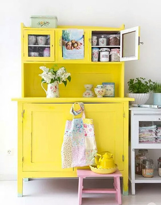 黄色收纳柜效果图设计