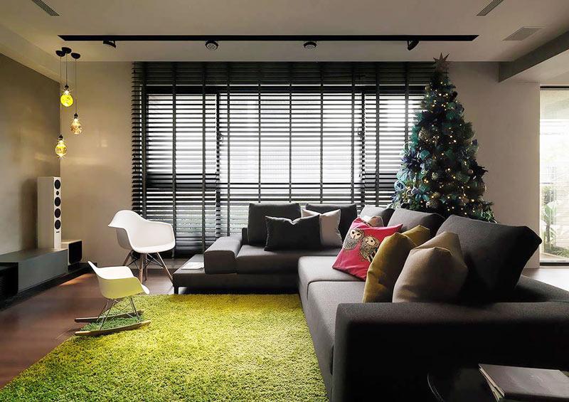 深色系日式工业风 客厅沙发窗帘效果图
