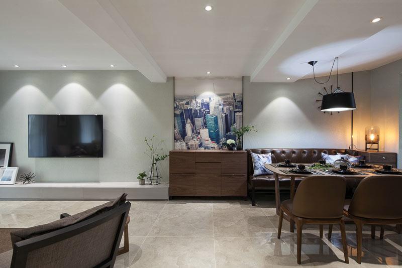112平简约质感复式浅绿色客厅电视背景墙