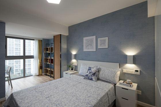 灰蓝色简约风复式卧室效果图